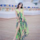 Floral Print Sleeveless Tie-Waist Slim Dress 1596