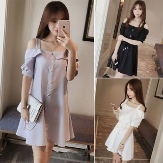 Cutout-Shoulder A-Line Dress 1060430988