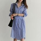 Elbow-Sleeve Striped Sheath Dress 1596