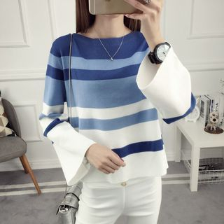 Image of Bell Sleeve Striped Knit Pullover