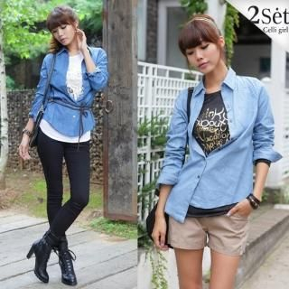 Buy Celli Girl Set: Long-Sleeve Denim Shirt + Print Long Sleeve T-Shirt 1023043638