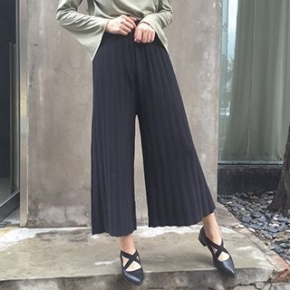 Ribbed Knit Wide Leg Pants 1053380161