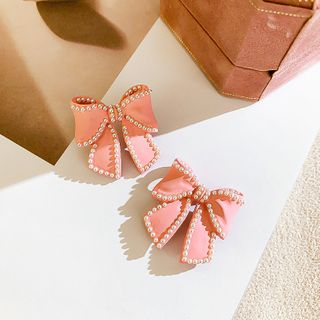 Image of Faux Pearl Bow Earring 1 Pair - Pink - One Size