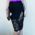 Lace-Panel Pencil Skirt 1596