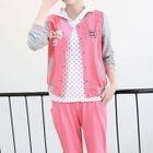 Set: Short-Sleeve Hooded T-Shirt + Color Block Baseball Jacket + Sweatpants 1596