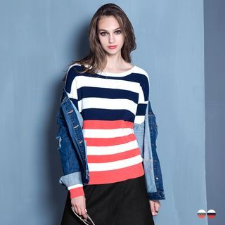 Bold-Striped Ribbed Knit Sweater 1055193943