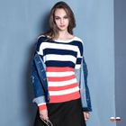 Bold-Striped Ribbed Knit Sweater 1596