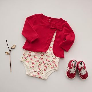 Baby Mock Two-piece Bow Short-Sleeve Bodysuit
