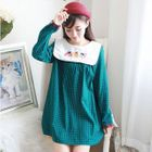 Embroidered Collar Gingham Dress 1596