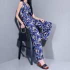 Sleeveless Printed Halter Jumpsuit with Cord 1596