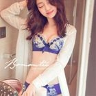 Set : Embroidered Lace Panel Bra + Panties 1596