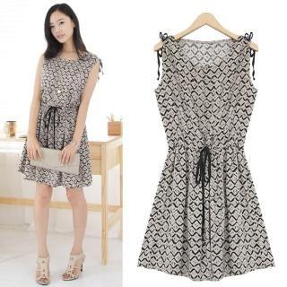 Buy Black Queen Sleeveless Drawstring Waist Dress 1023044951