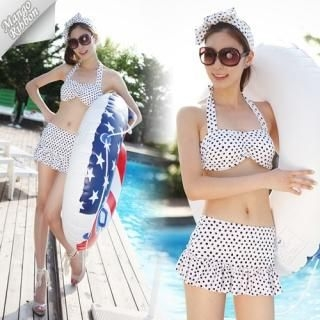 Buy Mango Ribbon Set: Halter Bikini + Cover-Up Skirt 1022980328
