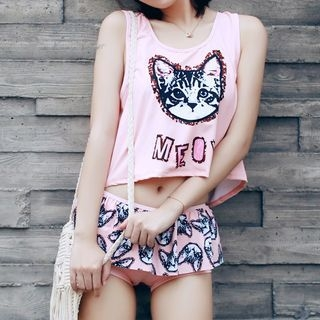 Set: Cat Print Bikini Top + Swim Skirt + Tank Top 1056538137