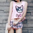 Set: Cat Print Bikini Top + Swim Skirt + Tank Top 1596