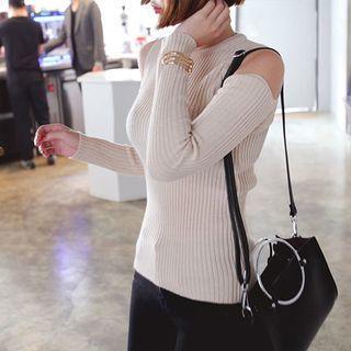 Cutaway-Shoulder Ribbed Knit Top 1054264852