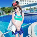 Set: Color Block Bikini + Skirt 1596