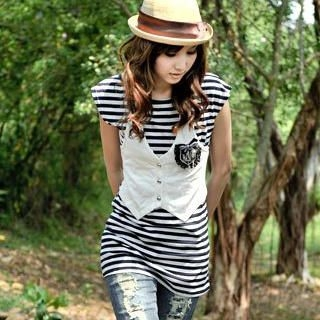 Buy MYHEART Inset Vest Striped Top 1022537957