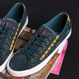 Studded Contrast-Trim Denim Sneakers