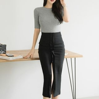 Set: Short-Sleeve Rib Knit Top + Slit Pencil Skirt 1067009324