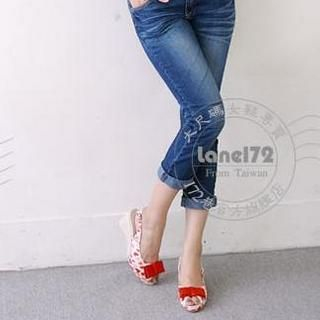 Buy Lane172 Heart Print Wedge Sandals 1023046004