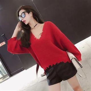 V-Neck Long-Sleeve Rib Knit Top 1062635259