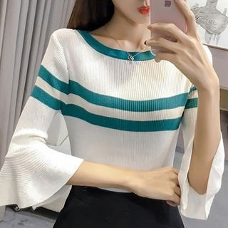 Wide Long-Sleeve Color Block Rib Knit Top 1062590618