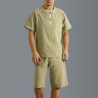Set : Short-Sleeve Linen Cotton Top + Shorts 1596