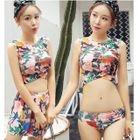 Set: Flower Print Tankini + Swim Skirt 1596