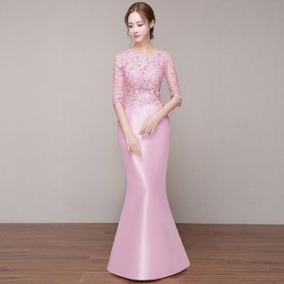 Elbow-Sleeve Lace Panel Mermaid Evening Gown 1053827526