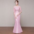 Elbow-Sleeve Lace Panel Mermaid Evening Gown 1596