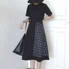 Plaid Panel Midi A-Line Skirt 1596