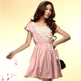 Buy Tokyo Fashion Lace-Collar Satin Dress 1022491098