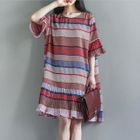 Elbow-Sleeve Patterned Dress 1596