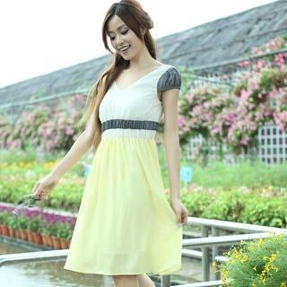 Buy 19th Street Puff-Sleeve Color-Block Empire Dress 1023052491