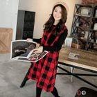 Paneled Checker Ribbed Sweater Midi Dress 1596