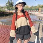 Striped Ribbed Knit Hoodie 1596
