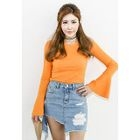 Bell-Sleeve Ribbed T-Shirt 1596