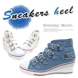 Buy Marim Buckled Accent Wedge Sneakers 1022928134