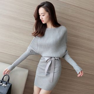 Dolman-Sleeve Ribbed Knit Dress 1055454491