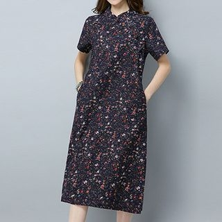 Floral Print Short Sleeve Mandarin Collar Midi Dress 1060571298