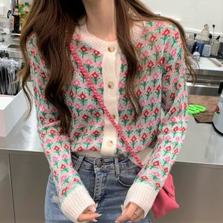 Flower Patterned Cardigan Pink & Red Flowers - Gray - One Size