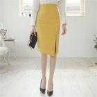 Slit-Front Button-Trim Pencil Skirt 1596