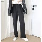 Plain Elastic-Waist Loose-Fit Wide-Leg Pants 1596