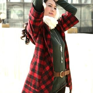 Picture of 19th Street Elbow-Sleeve Check Hooded Coat 1021819644 (19th Street Apparel, Womens Outerwear, China Apparel, China Outerwear)