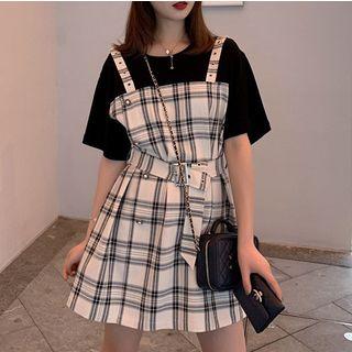 Short-sleeve | Sleeveless | Drawstring | T-Shirt | Plaid | Dress | Mini