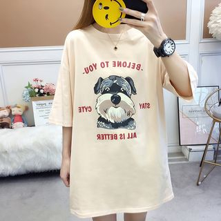 Image of Dog Print Elbow-Sleeve T-Shirt Dress