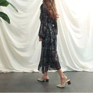 Mock-Neck Floral Print Long Dress With Sash 1064666647