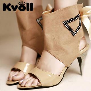 Buy Kvoll Bow Rhinestone Cuffed Heels 1022906279