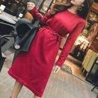 Tie-Waist Long-Sleeve Knit Dress 1596